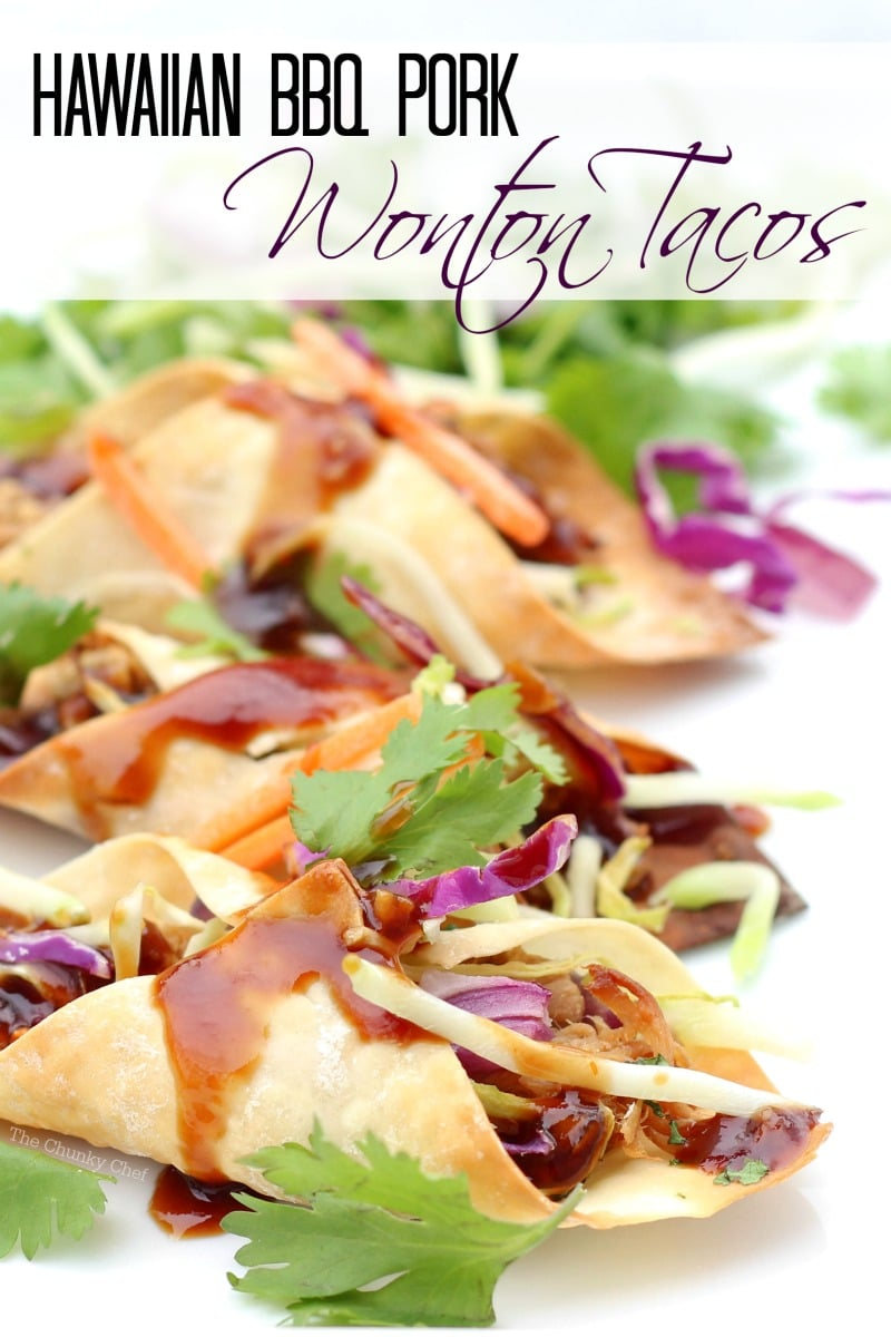 Hawaiian BBQ Pork Wonton Tacos - The Chunky Chef