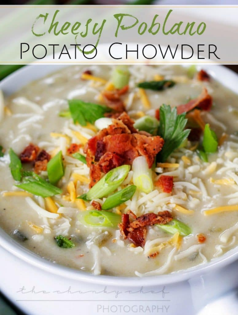 Cheesy Poblano Potato Chowder | The Chunky Chef | Hearty and comforting... this cheesy poblano pepper and potato chowder really hits the spot!! Savory and complex, it's bound to be your new favorite!
