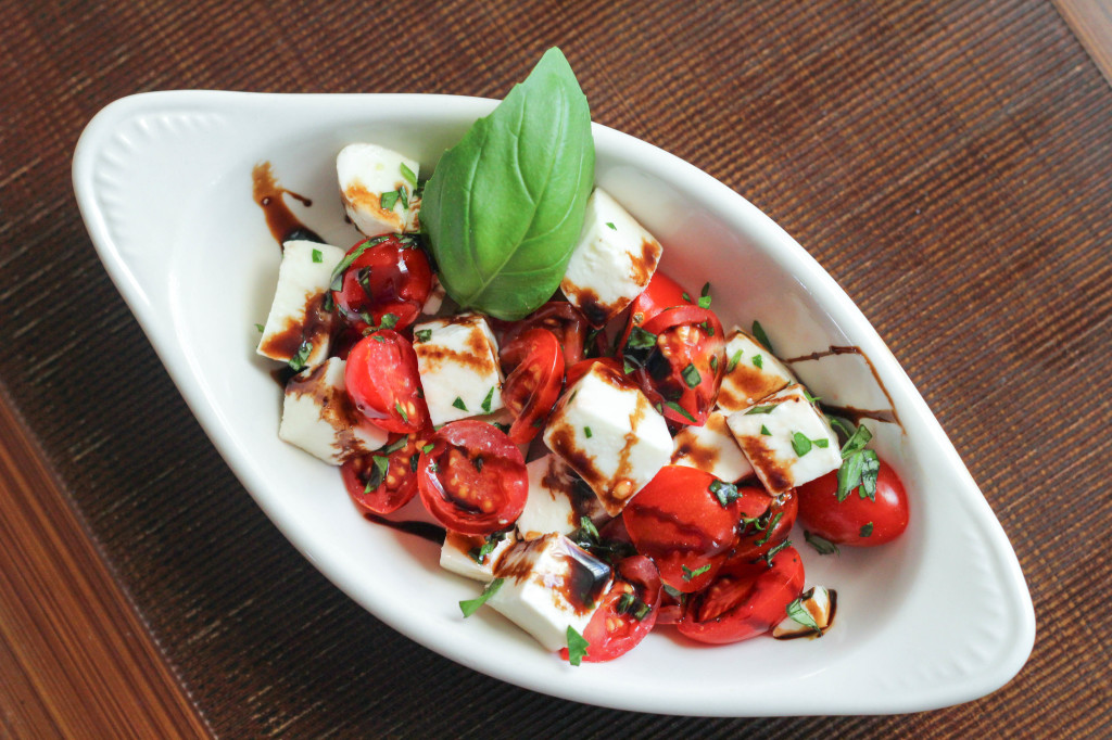 I usually throw together a little caprese salad to have too... honestly, I think it's just an excuse to eat more of that glaze!