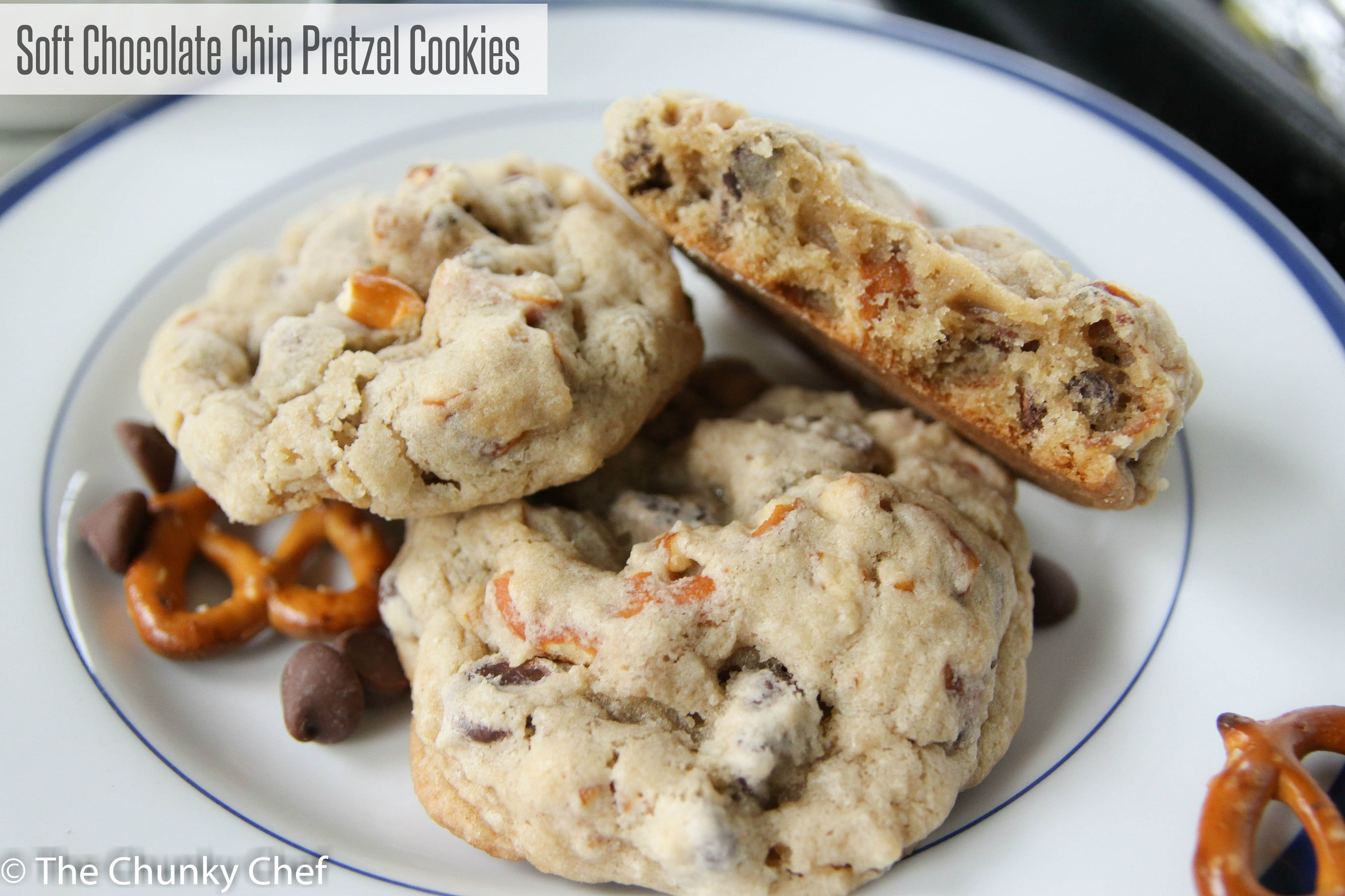Soft Chocolate Chip Pretzel Cookies - The Chunky Chef