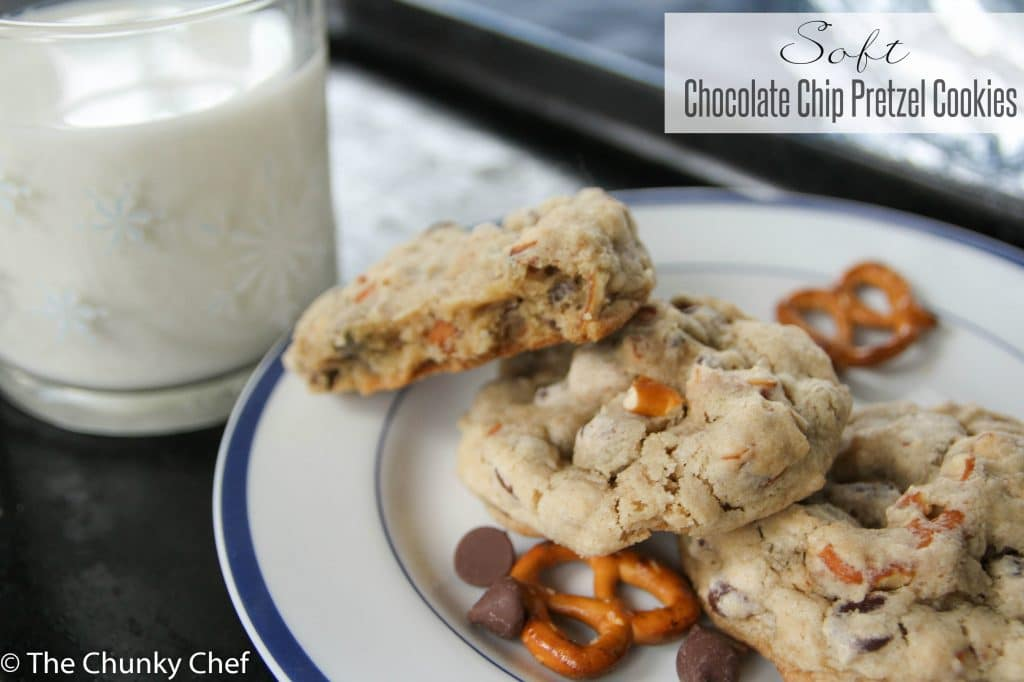 Soft and fluffy chocolate chip cookies with crunchy, salty pretzels baked right in... it's the perfect balance of sweet and salty, in your favorite cookie!