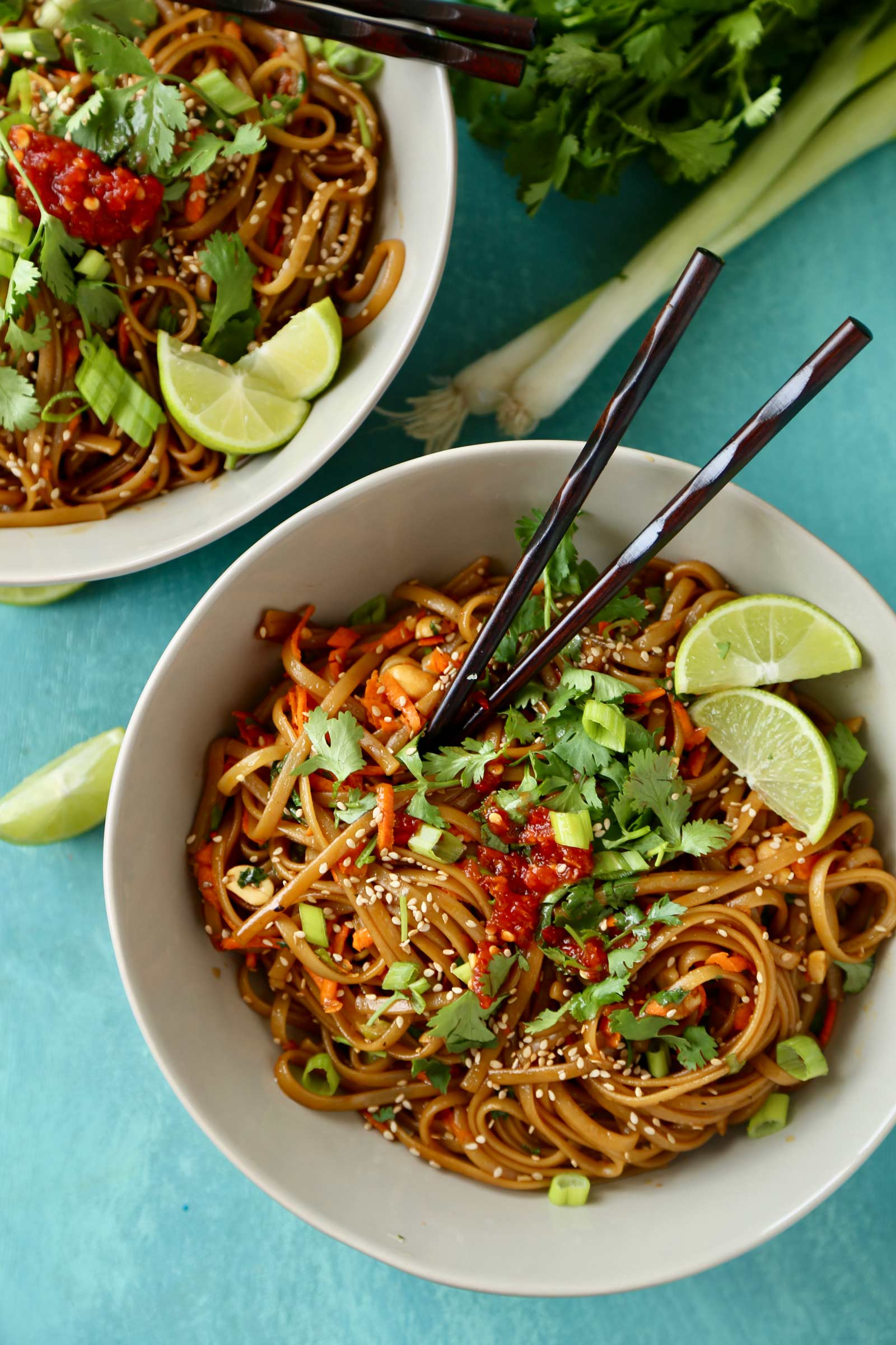 Spicy Thai noodles in bowl