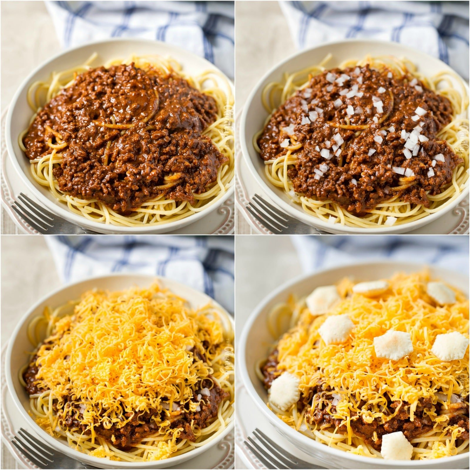 Breakdown collage of Cincinnati chili 4 way