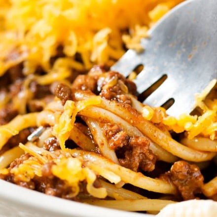 Copycat Skyline Cincinnati Chili | Unique and flavorful, this regional chili is rich, meaty, packed with spices, and can be served in so many ways! Try Cincinnati's spin on chili! | https://www.thechunkychef.com | #dinner #cincinnati #chili #copycat #homemade #easyrecipe