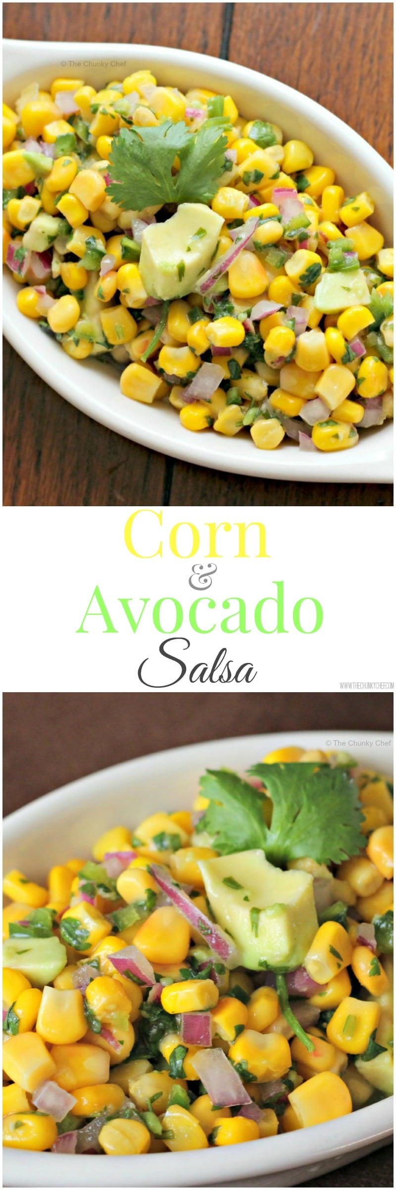 Sweet corn salsa with a spicy jalapeno kick, topped with cool, buttery avocado... it's the perfect salsa!