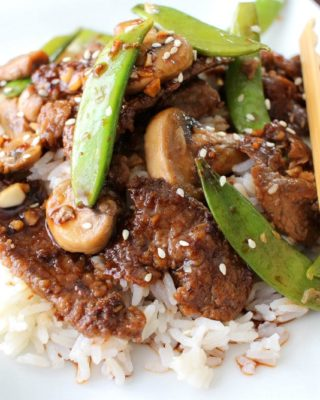 Deliciously savory and easy to make... try this Asian Beef with Sugar Snap Peas tonight! Like your favorite take-out meal, but WAY better!