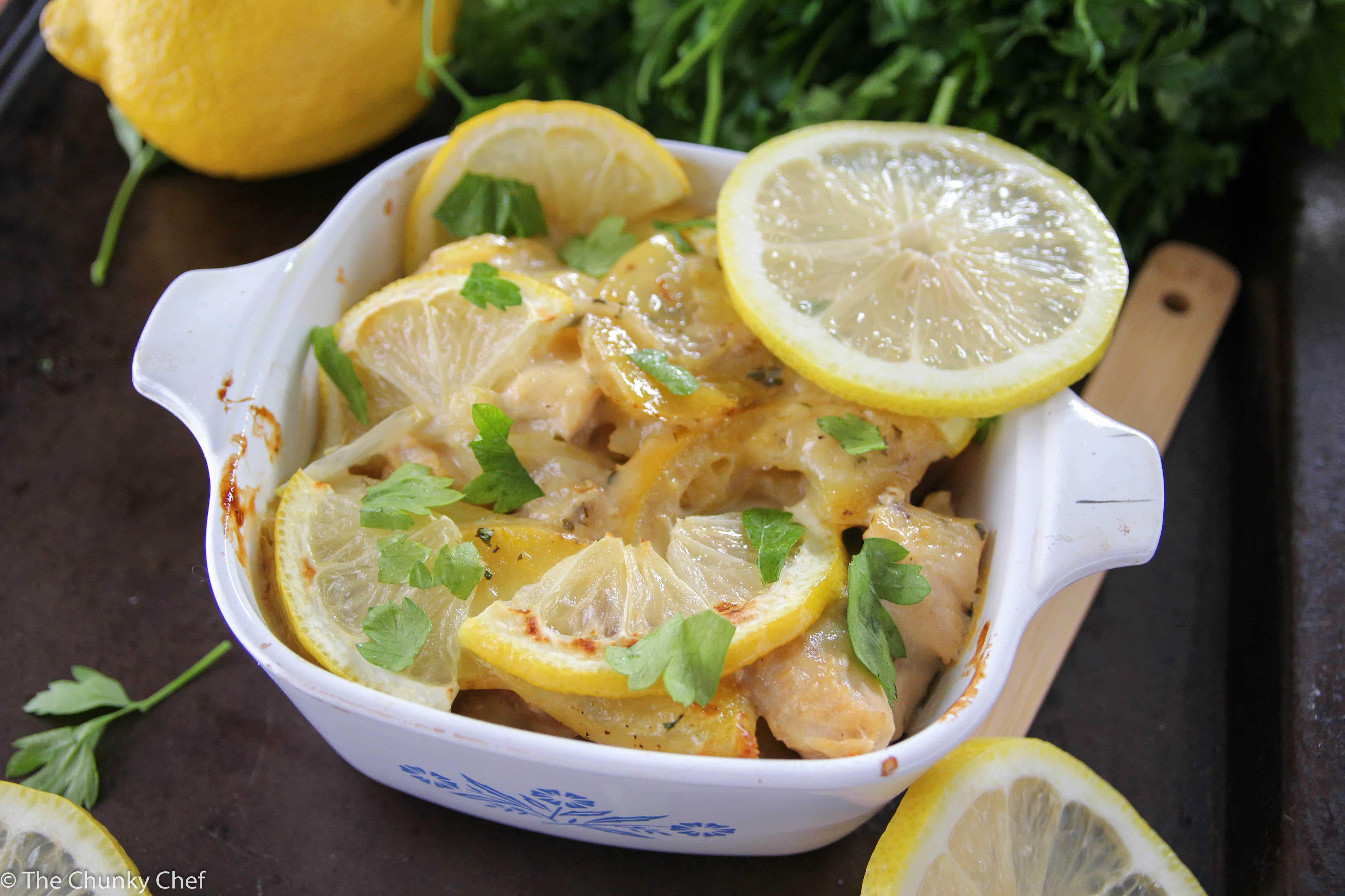 Lemon Chicken and Potato Bake - The Chunky Chef