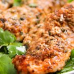 Low Carb Baked Chicken Tenders   These baked chicken tenders are coated in a deliciously savory crust, yet have zero breading, which makes for an awesomely low carb meal!   http://thechunkychef.com
