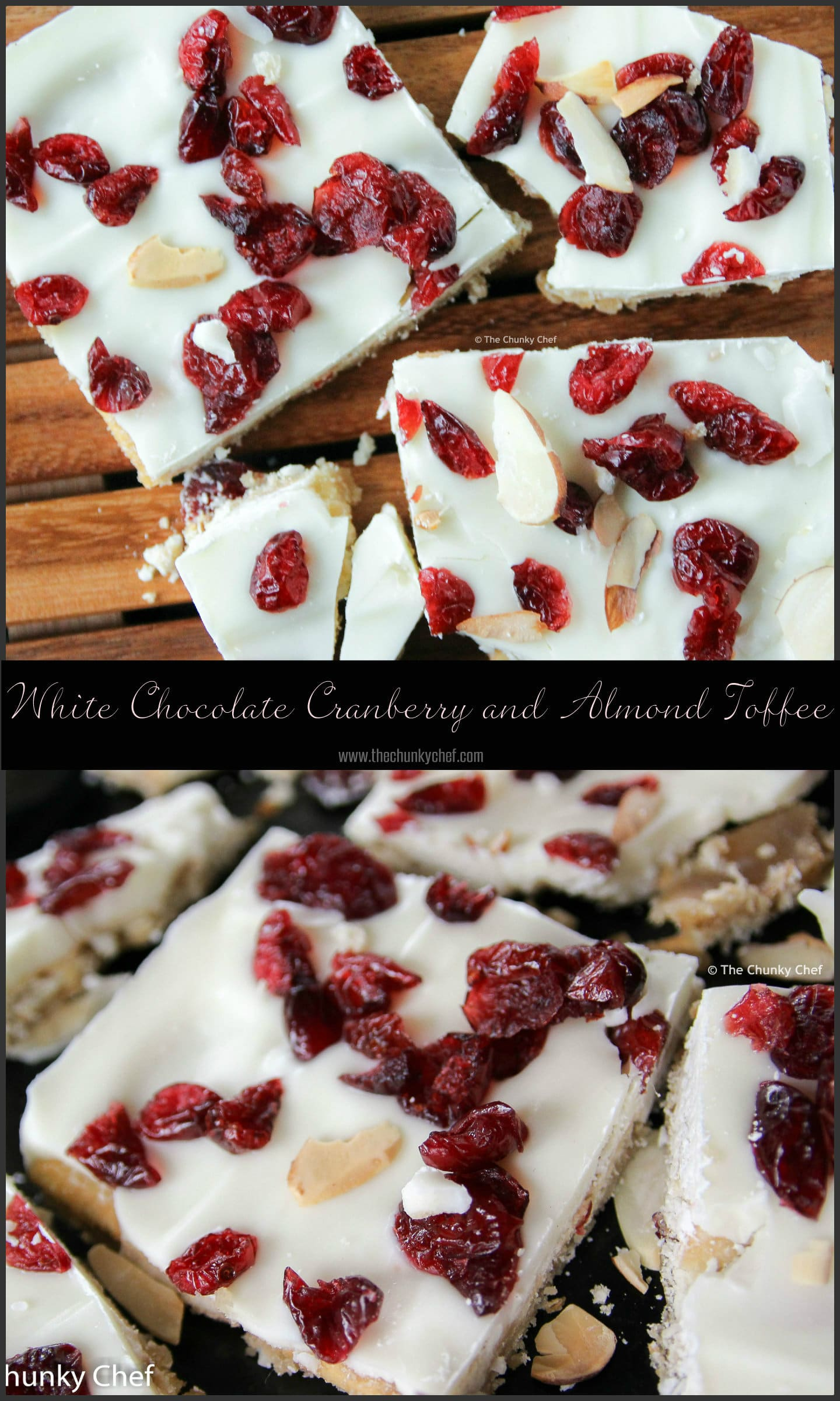 Saltine crackers are transformed into decadent white chocolate covered toffee studded with sweet cranberries and crunchy toasted almonds
