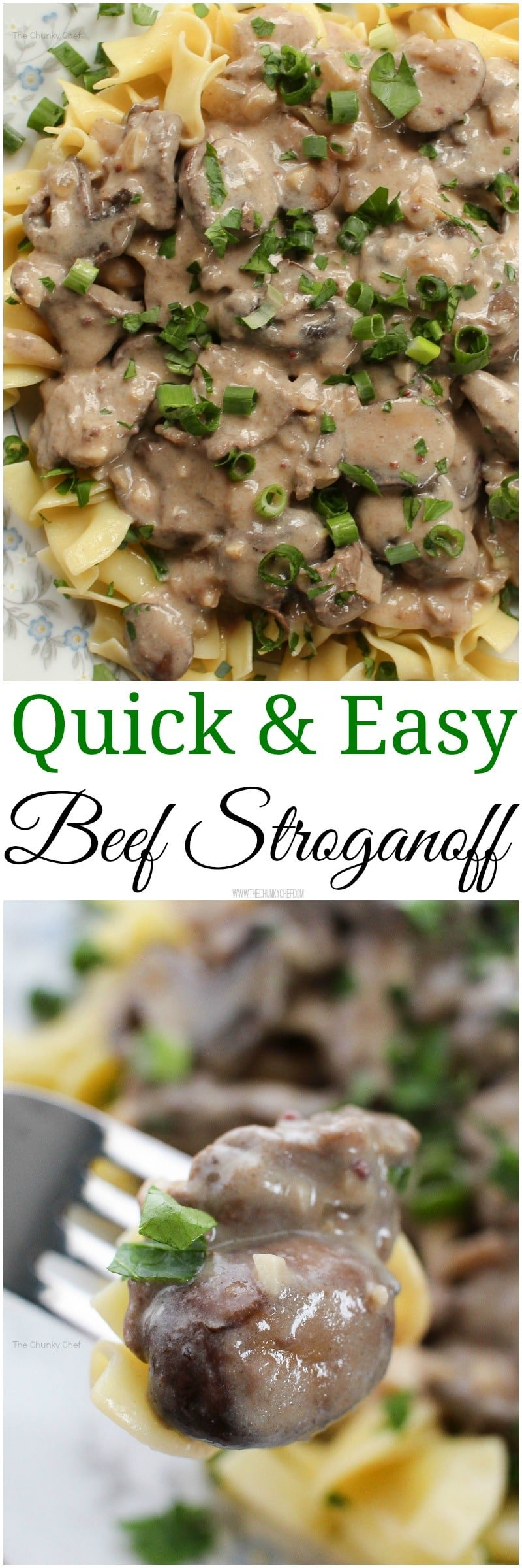 Quick and Easy Beef Stroganoff - Creamy and deeply flavorful, whip up a plate of this beef stroganoff tonight!  It's easy to make and guaranteed to make you want seconds!