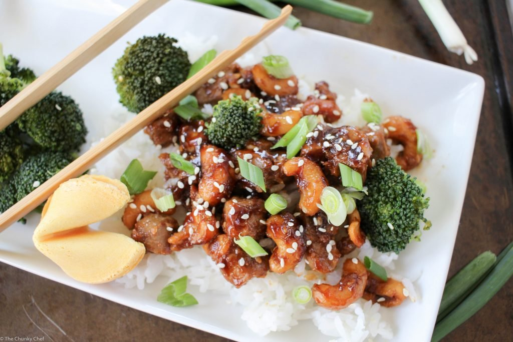 takeout style spicy cashew chicken  the chunky chef