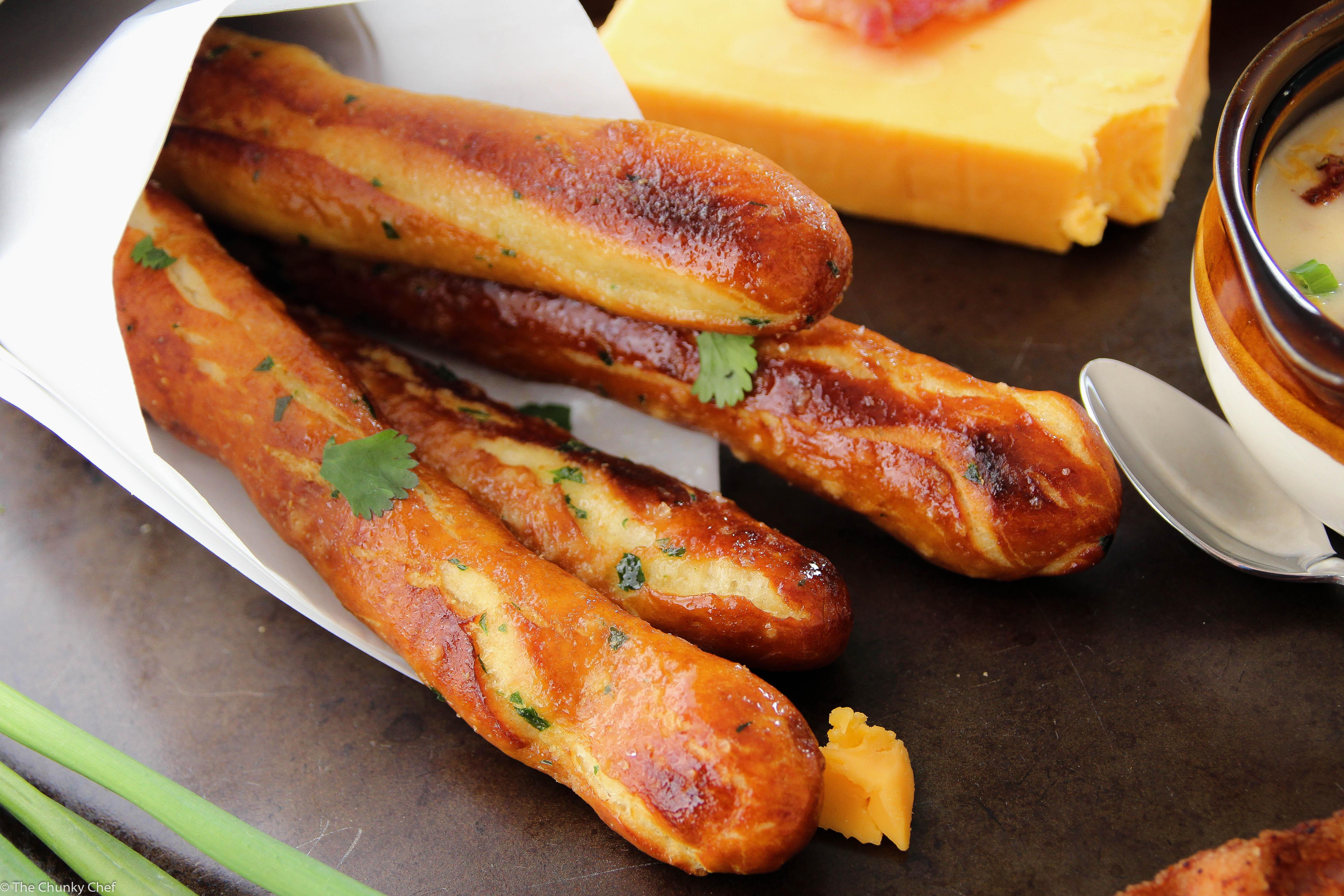 Baked Soft Pretzel Sticks The Chunky Chef