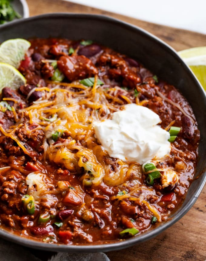 Grey bowl of chili