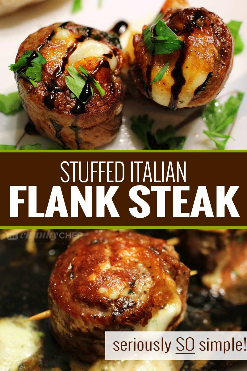 Impress anyone with this easy flank steak that's rolled with garlic, herbs, prosciutto ham and provolone cheese.  Perfect on the stove/oven, or on the grill, these are the ultimate Italian steak pinwheels! #steak #flanksteak #stuffed #pinwheels #grilled #baked #Italian #steakpinwheels #steakmedallions