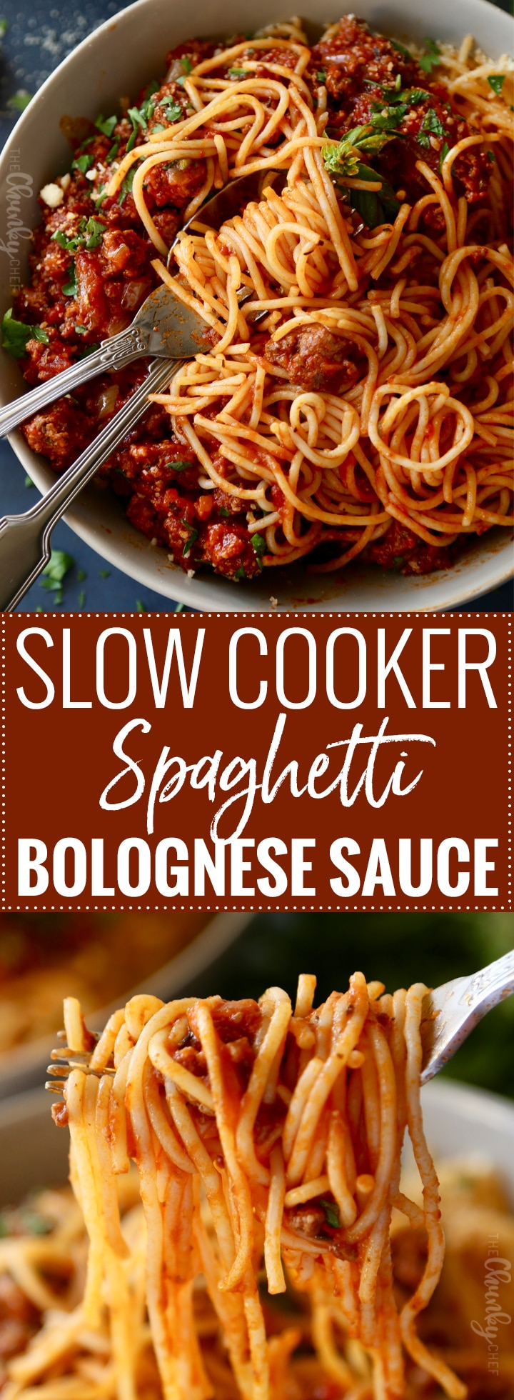 Slow Cooker Spaghetti Bolognese Sauce | Perfect for a weeknight dinner, this bolognese-style sauce is made in the slow cooker.  Just boil some pasta and your dinner is ready! | https://thechunkychef.com