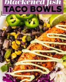 fish taco bowls pin image