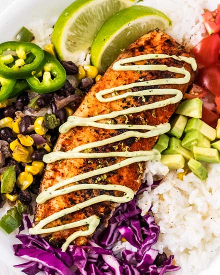 featured image for blackened fish taco bowls