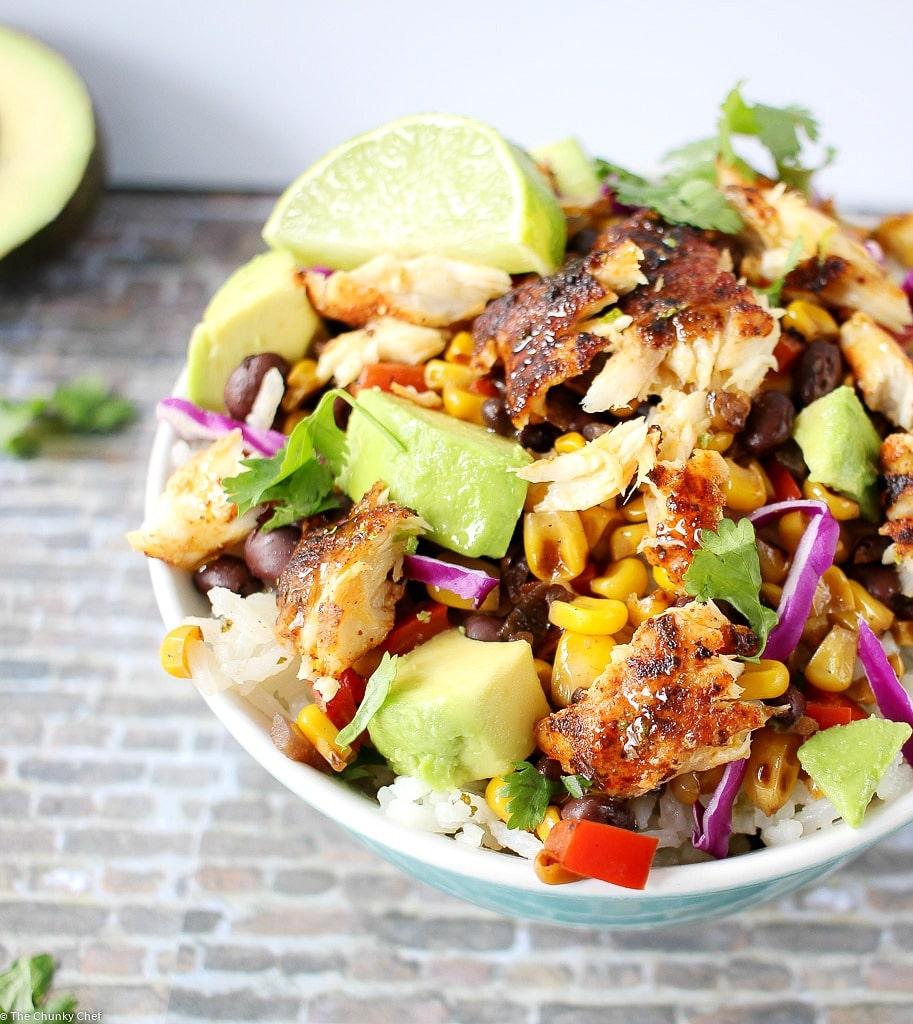 Blackened Fish Taco Bowls Healthy Dinner Idea The Chunky Chef