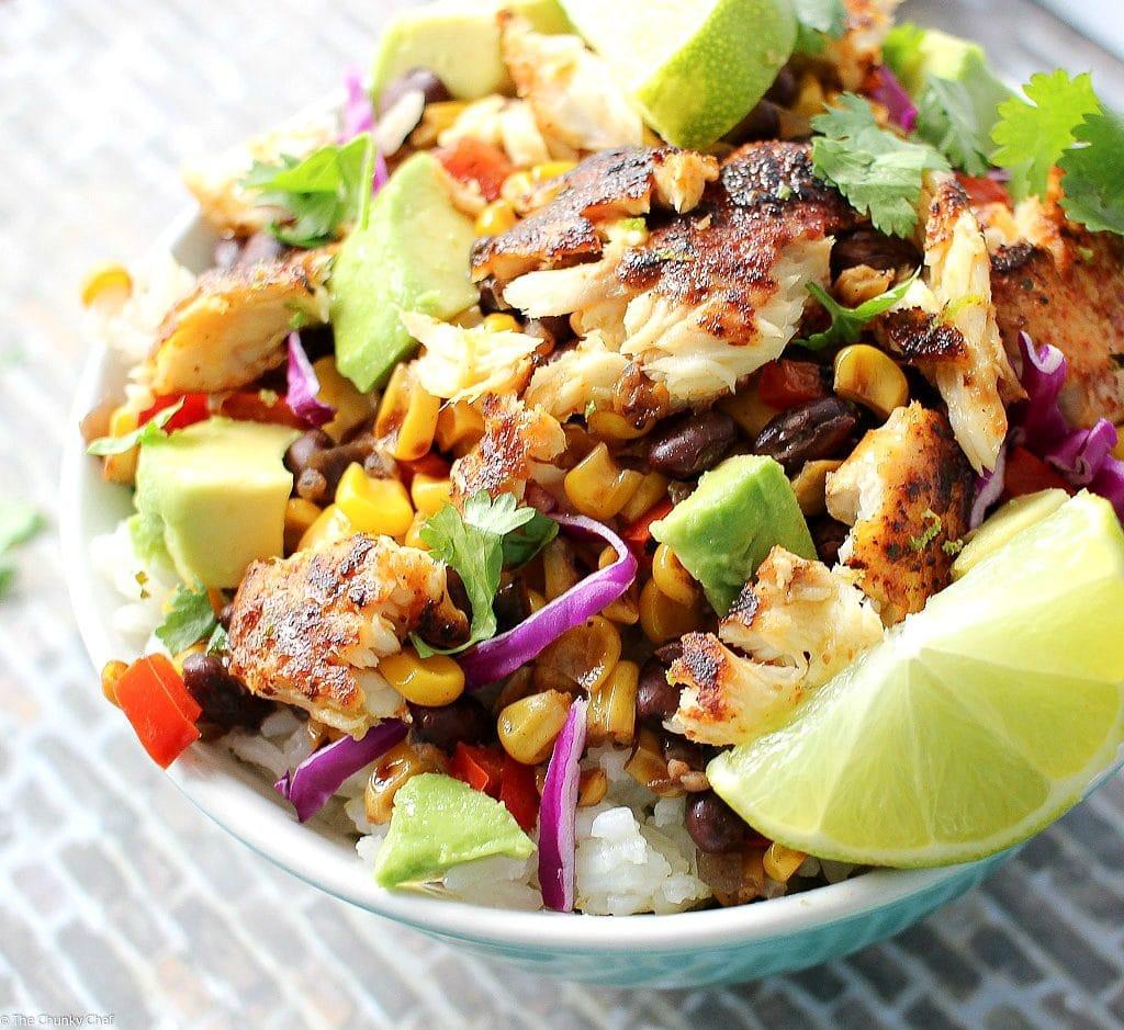 Blackened tilapia taco bowls the chunky chef for Tilapia fish taco recipes