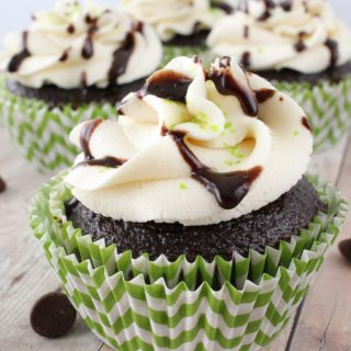 Cupcakes get an incredible deep chocolate flavor from some Guinness, and they're topped off with a rich Irish Cream frosting and a chocolate sauce drizzle.