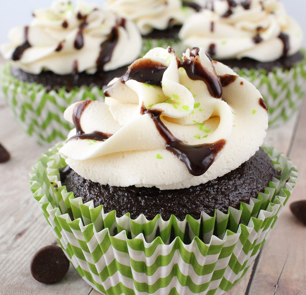 Guinness Cupcakes with Bailey's Frosting and Chocolate Drizzle