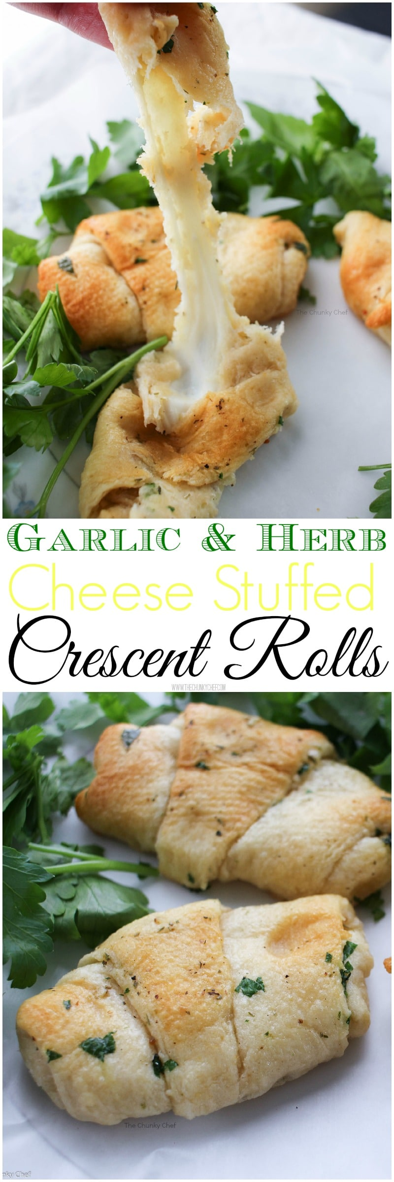 Garlic and Herb Cheese Stuffed Crescent Rolls - Buttery, rich, garlicky and full of fresh herbs and delicious mozzarella cheese