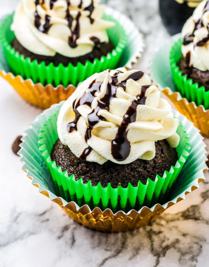 St. Patricks Day dessert - chocolate cupcakes with Guinness