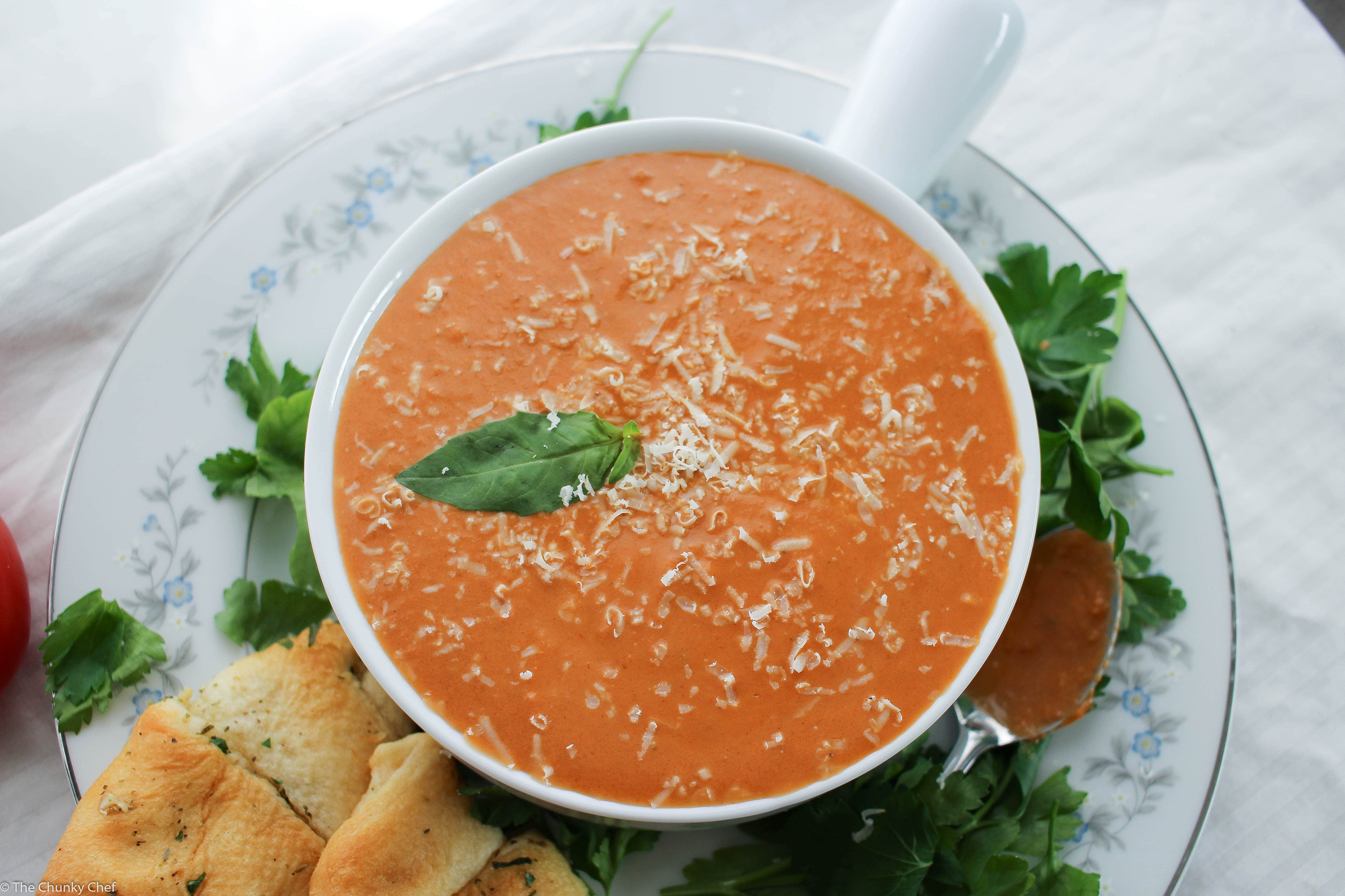 Slow Cooker Creamy Tomato Basil Soup - The Chunky Chef
