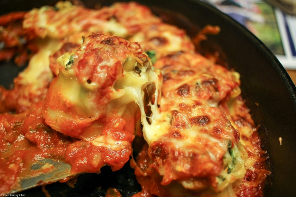Savory mushrooms, spinach and cheese are rolled up in pasta and baked in a delicious marinara sauce. A dish so hearty, you won't realize it's vegetarian!