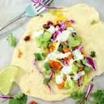 Honey-Lime Black Bean and Sweet Potato Tacos #SundaySupper