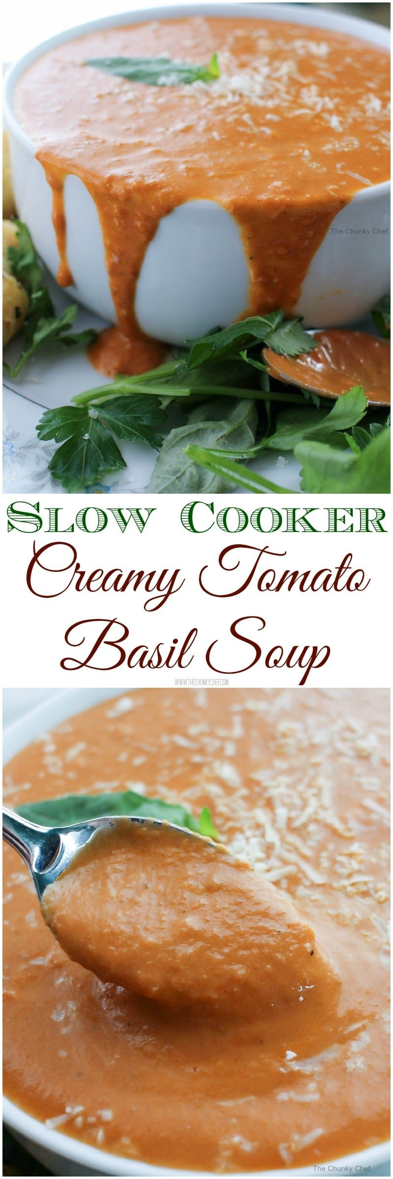 Slow Cooker Creamy Tomato Basil Soup - Lusciously creamy and full of tomato and basil flavors, this slow cooker tomato soup is out of this world! Try it tonight!