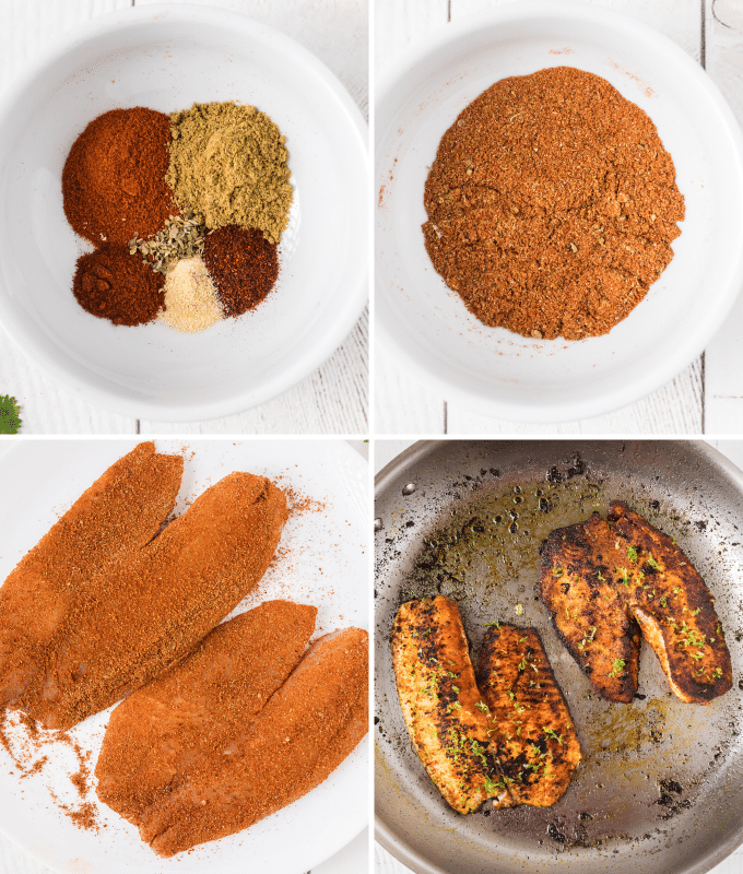 cooking the blackened fish filets