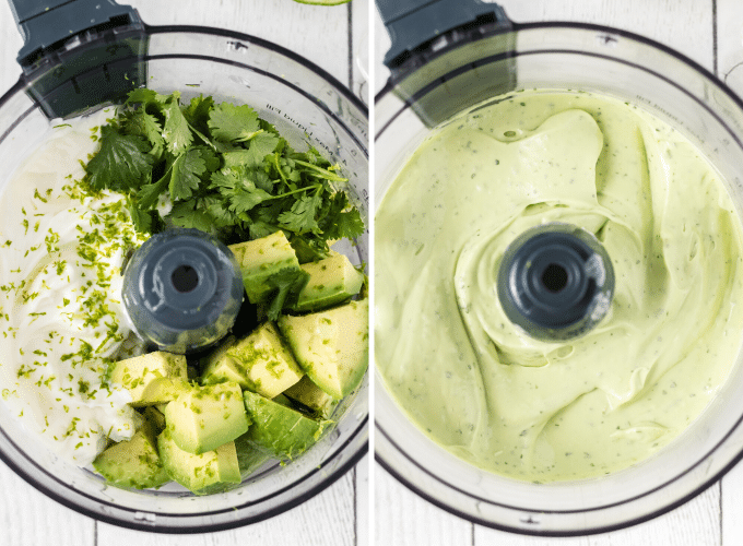 making avocado crema