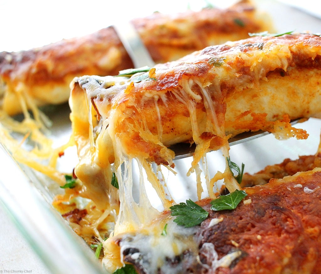 Beef Enchiladas With Homemade Enchilada Sauce The Chunky Chef