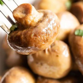 Buttery Crockpot Ranch Mushrooms - This quick and easy side dish is made using only 3 simple ingredients!  Buttery, and full of ranch flavor, the crockpot does the work for you with this mushroom side dish!