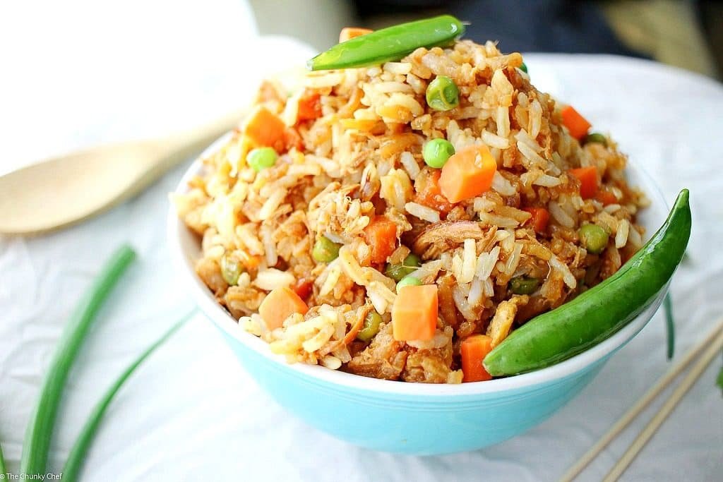 No need to order takeout... make your own chicken fried rice that tastes about 1000x better!