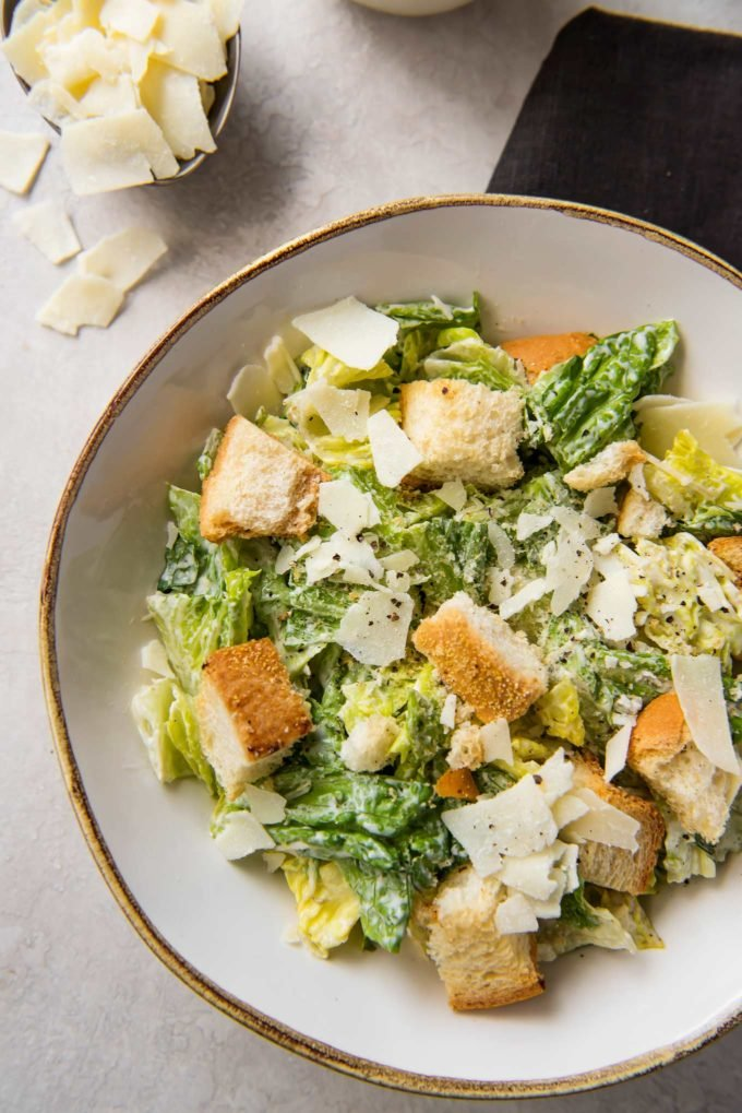 Homemade caesar salad in bowl