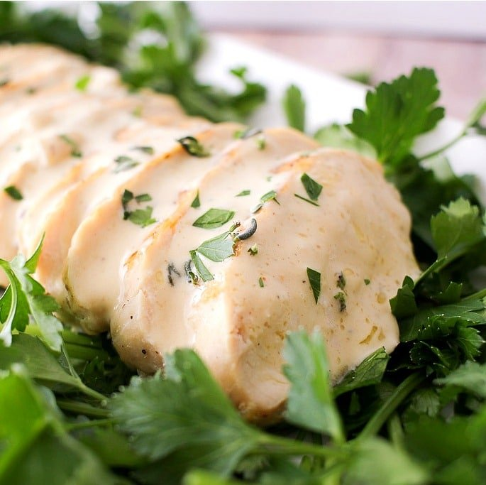 ... pan seared chicken with a creamy mustard sauce! Simple. Easy