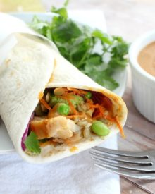 A 5 minute dinner or lunch? Is that even possible? Yes it sure is! Try these spicy Thai peanut chicken wraps... light on time, but crazy good flavor!
