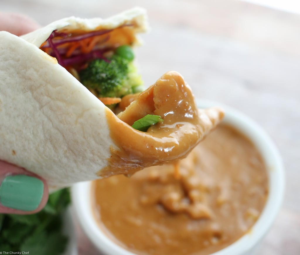 Spicy Thai Peanut Chicken Wraps | These quick and easy chicken wraps are loaded with great flavors! Just 6 easy ingredients plus a homemade Thai peanut sauce, and you're good to go! | http://thechunkychef.com