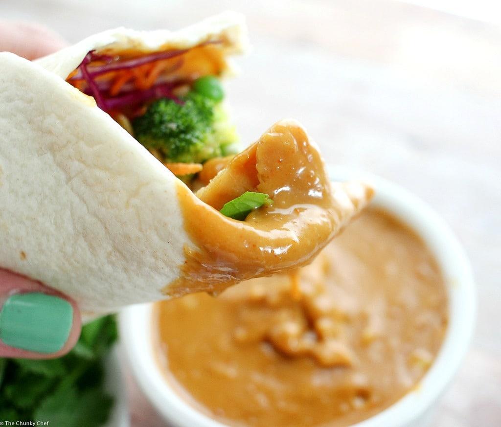 Spicy Thai Peanut Chicken Wraps