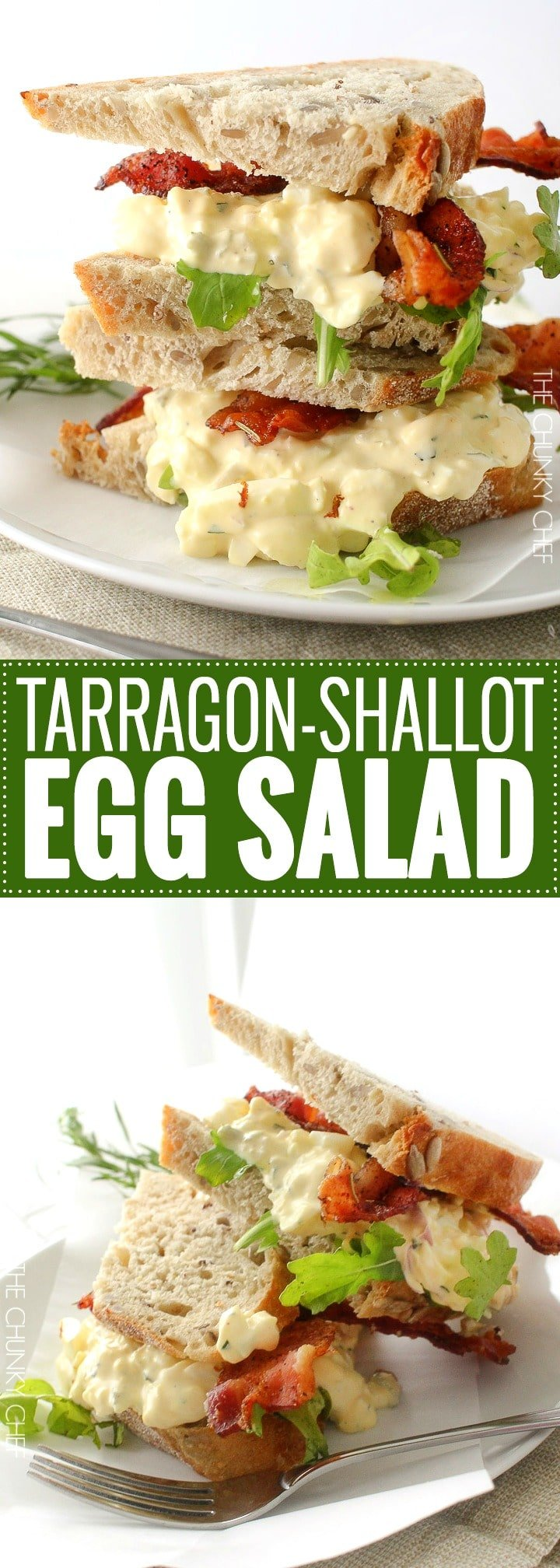 Tarragon and Shallot Egg Salad | No more boring egg salad sandwiches!  Fresh tarragon and minced shallot give this egg salad a light and gourmet twist!  Plus, the secret to perfectly hardboiled eggs, every time. | http://thechunkychef.com