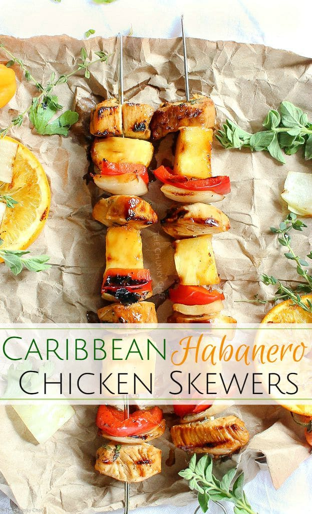 Taste the Caribbean in these citrus habanero chicken skewers... marinated chicken, onions, peppers, and pineapple.. all grilled to smoky charred perfection!
