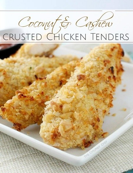 Not your run of the mill baked chicken tenders... this chicken is crusted in a delicious coconut and cashew breading and baked to golden brown perfection!