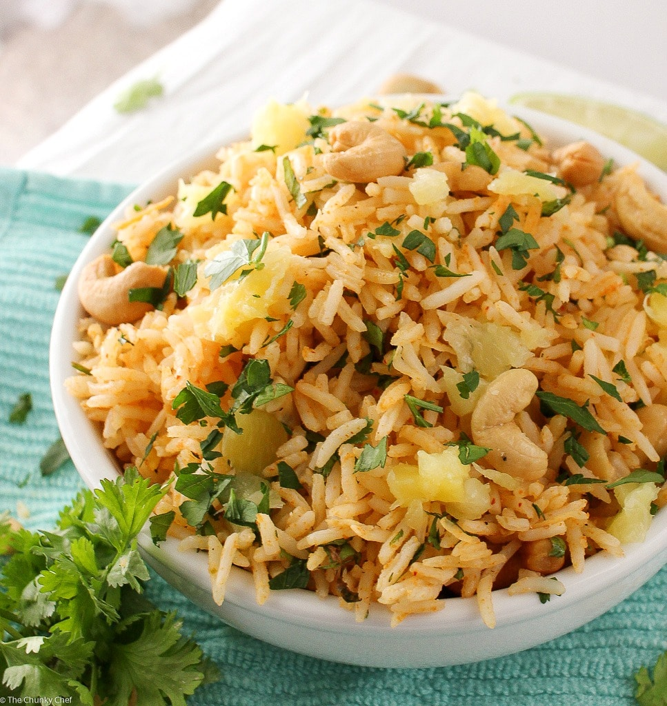 Tropical Coconut Pineapple Cashew Rice - The Chunky Chef