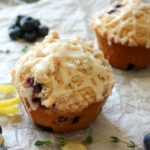 Bakery-Style Thyme Blueberry Muffins with a Mascarpone Glaze