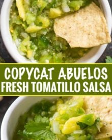 This copycat of Abuelo's tomatillo lime salsa is so close, you'll think you're actually at the restaurant!  Bright, fresh, and ready in 5 minutes! #salsa #tomatillo #lime #copycat #abuelos #greensalsa #easyrecipe #Mexican #copycatrecipe