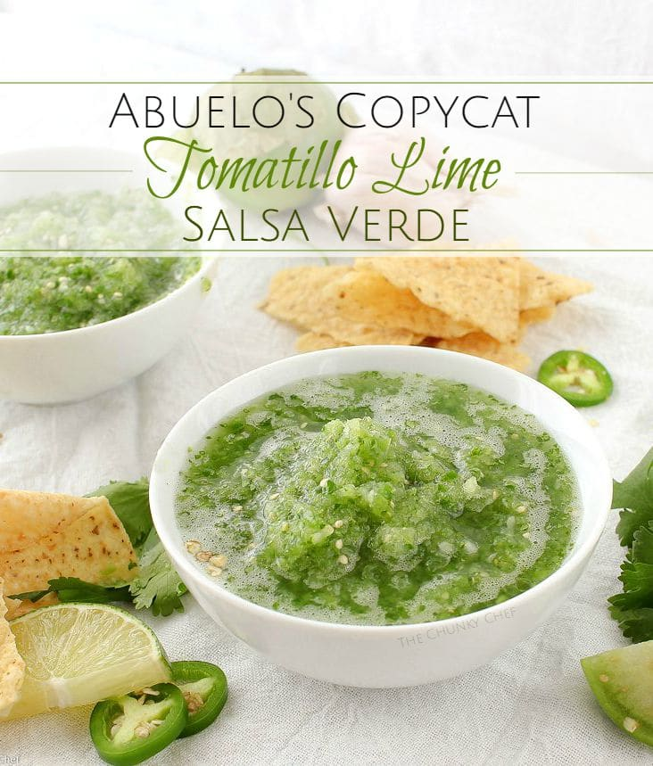"""Copycat Abuelo's Tomatillo Salsa   The Chunky Chef (http://thechunkychef.com)   This copycat of Abuelo's tomatillo salsa is so close, you'll think you're actually at the restaurant! Bright and fresh, this salsa is a """"must try""""!"""