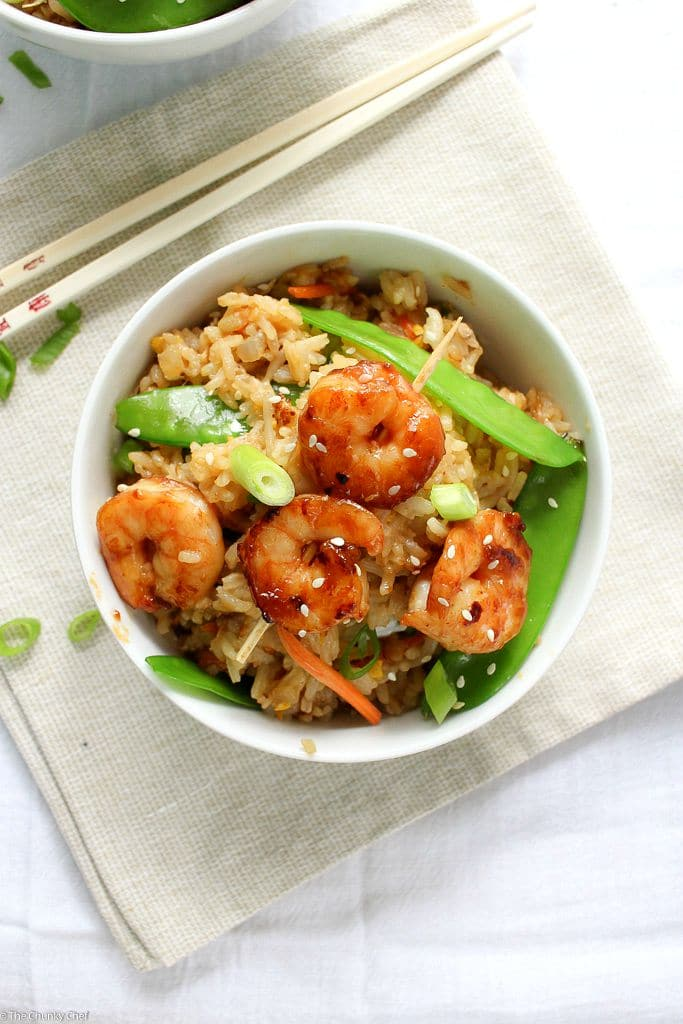 The Chunky Chef | 20 Minute Shrimp Fried Rice | A fast and easy shrimp fried rice recipe that tastes better than Chinese takeout, and you can get on the table in 20 minutes! Perfect for a weeknight meal!