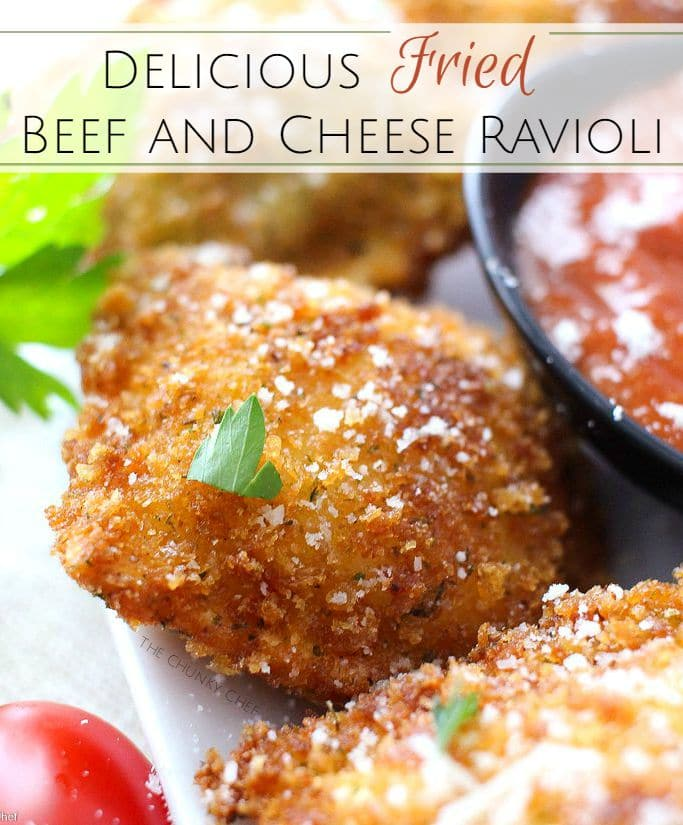 The Chunky Chef | Crispy Fried Ravioli |  Like Olive Garden's toasted ravioli, but better! This crispy fried ravioli is easy to make, yet impressive. Perfect for a party, or the family dinner table.